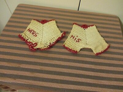 """Vintage Hand Crocheted """"his & Hers"""" Hot Pads/pot Holders Red & White"""