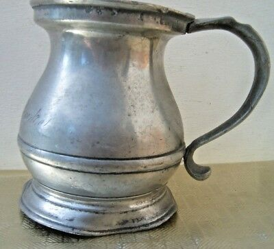Antique 1/2 Pt Signed Pewter Measure/Tankard. ER, VR &other crown marks/patches