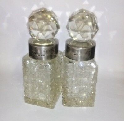2 Antique Heavy Crystal Silver Neck Decanters - Hallmarked - pls view all pics