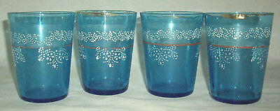 4 Blue Victorian Hand Painted & Enameled Tumblers Fenton? Circa 1910 Used Cond!
