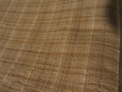 Old Early Homespun Fabric Piece....brown Check....previously Used...no Holes....