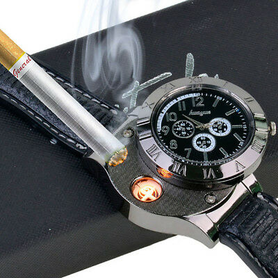 UK Men Cigarette Lighter Quartz Watch Windproof Flameless Lighter USB Military