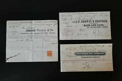 Three (3) Late 1800's San Francisco Invoices ~ San Francisco, California