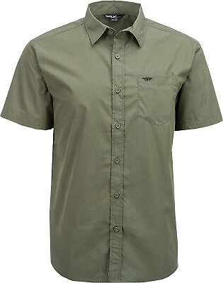 Fly Racing Casual Men's Button Up Dark Green Slim Fit Short Sleeve Shirt