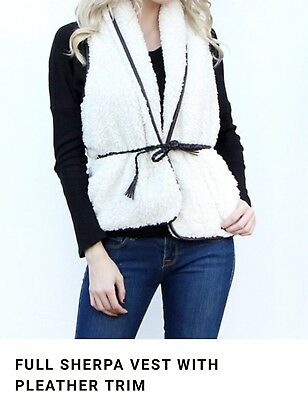 Full Sherpa Vest with Pleather Trim Size S