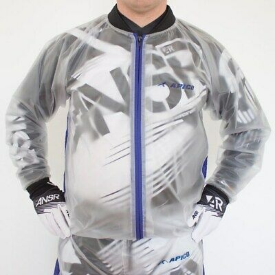Motocross Trials MX Enduro Off Road Waterproof Rain Mud Jacket Clear Large J608