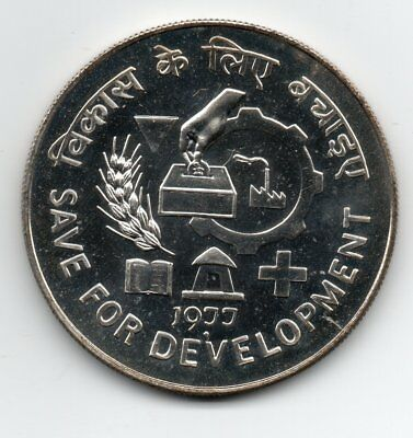 1977 India Fao 50 Rupees Silver Crown Save For Development Scarce Unc
