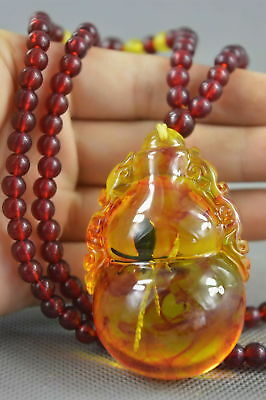 Collection Handwork Decor Amber Inner Inlay Ants Auspicious Gourd Lucky Necklace