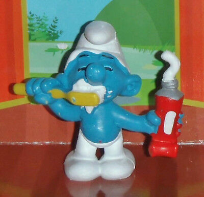Vintage Brushing Smurf With Toothpaste & A Toothbrush 1979 W. Germany Smurf Lot