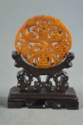 China Collectable Handwork Old Jade Carve Myth Dragon Ancient Auspicious Statue
