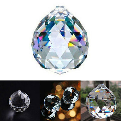 5pcs 20mm Feng Shui Hanging Crystal Ball Sphere Prism Faceted Sun Catcher Clear