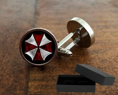 Resident Evil  - Umbrella Corp - Cufflinks - 3D Glass Lens Front - Mens Gift