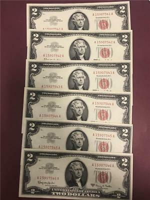 Set of 6 Consecutive 1963A Red Seal Notes *CRISP Unc.* $12 face
