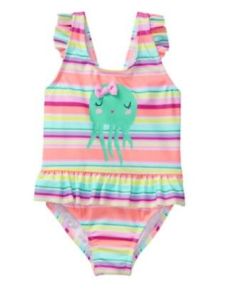 NWT Gymboree Girls Spring Vacation Octopus Ruffle Stripe Swimsuit 4t