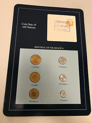 6 PC Coin Sets of All Nations Republic of Nicaragua Stamped Page Free Shipping