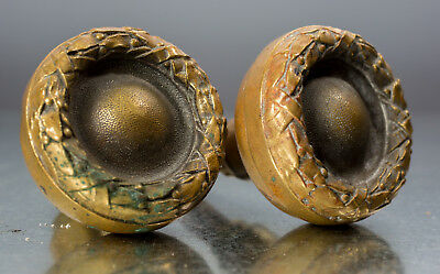 BRASS Doorknobs (pair) - vintage - solid - set #1, high relief
