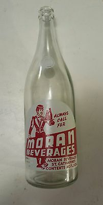 "Rare Canadian (St. Catherines) ""moran Beverages"" 30 Oz Clear- Red & White Acl"