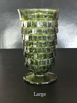 SET OF 10 Indiana Glass Colony WHITEHALL Footed OLIVE GREEN TUMBLER
