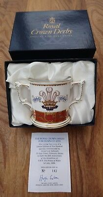 Royal Crown Derby ~ Prince Of Wales 25th Anniversary of Investiture Loving Cup