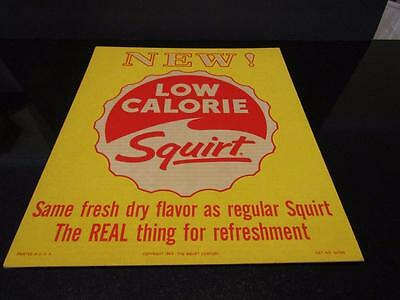 "Squirt - NEW LOW CALORIE SQUIRT Cardboard Sign NOS - 15-1/2"" x 13-1/4"" 1963"