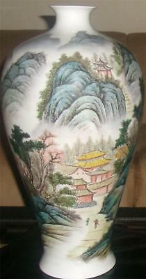 Famille Rose Chinese Meiping Vase Republic Era Land  Sea Scape Calligraphy Seal
