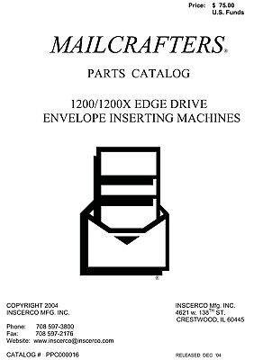 MAILCRAFTER 1200 1200X edge drive envelope insert parts manual (033)