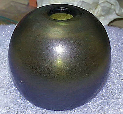 Signed Mouth Blown Satin Green Thick Glass Ball Vase Ground Pontil Mint Cond