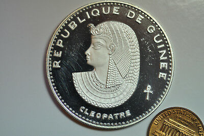 mw10227 Guinea; Silver Crown 500 Francs 1970  Cleopatra   PROOF Mintage: 5,250