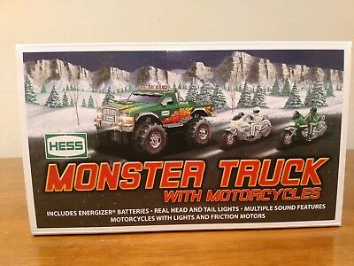 BRAND NEW 2007 HESS MONSTER 4x4 TRUCK WITH 2 MOTORCYCLES MINT