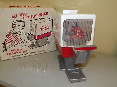 1960's Drink Coca Cola Toy Soda Dispenser With Glasses and Box