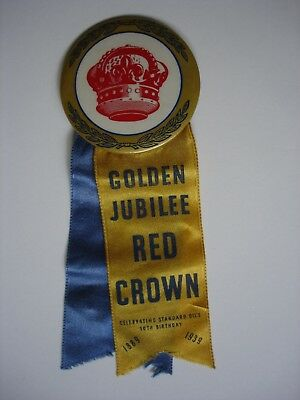 Original Standard Oil 1939 Golden Jubilee Red Crown Pin Button with Ribbon