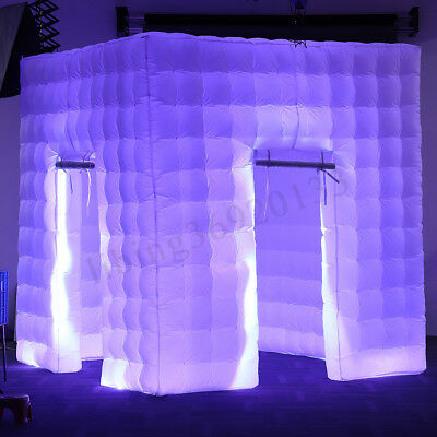 2.8M Inflatable Double Door LED Air Pump Photo Booth Tent 7 Colors Wedding Party