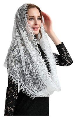 Catholic Veil Church Head Covering Latin Mass Lace White Infinity Scarf Mantilla