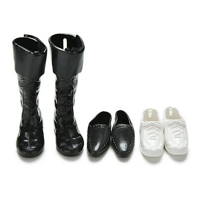 Fashion 3Pairs Cusp Leather Shoes Boots Sneaker for Ken Doll Barbie Toy Gift HT