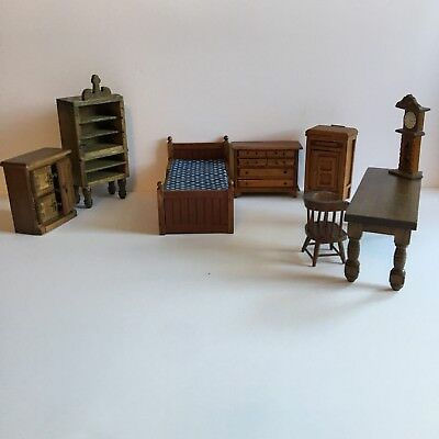Huge Lot Vintage/Antique Doll House Miniature Furniture Wood Bedroom
