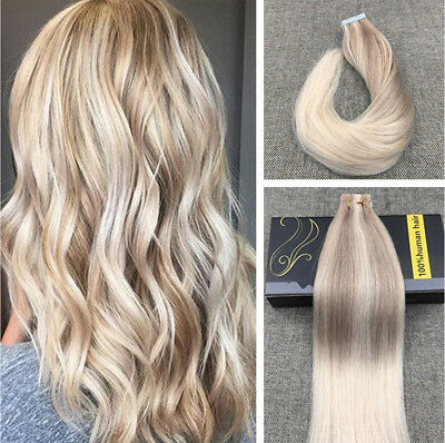 Ugeat 50g Balayage PU Tape in Human Hair Extensions Blonde Ombre 18/22/60# 20pcs
