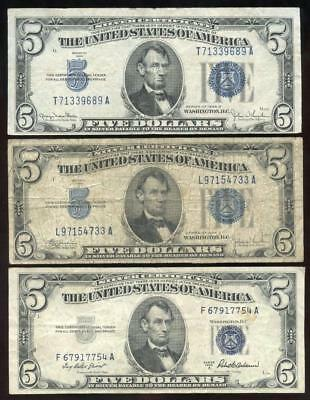 1934 C & D + 1953 A $5 Dollar SILVER CERTIFICATES - (3) Bills Notes Total