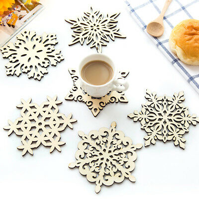 5x Hot Wooden Snowflake Xmas Coaster Mat Nonslip Placemat Kitchen Table Cup #new