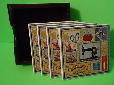 """QUILTERS FRIENDS"" Coasters Set Ceramic With Cork Bottoms in Wood Holder"