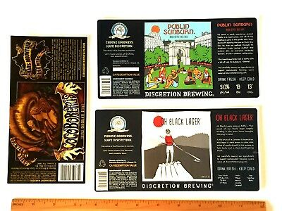 (6) MICRO CRAFT BEER LABELS lot sticker Discretion CA, Chaos Mountain