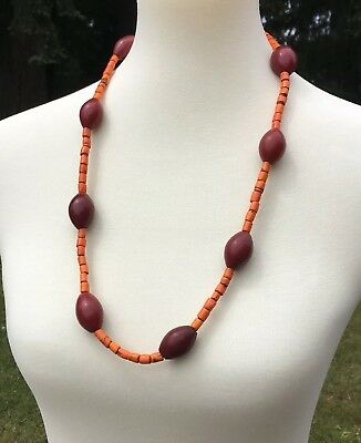 Vintage Naga Necklace with Antique Trade Beads, Large Focal Beads Orange Red