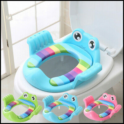 Baby Handle Toilet Seat Soft Pad Portable Frog Cushion Trainer Potty Training