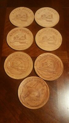 7 Klein Tools Racing Leather Coasters Quality Hand Tools since 1857 Barware RARE