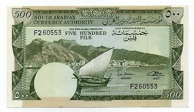 1965 SOUTH ARABIA 500 FILS BANKNOTE DHOW PICK 2a F260553 VF++ SIGNATURE 1