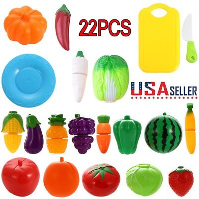 Magnetic Cutting Fruits Vegetables Kitchen Toys Pretend Play Pack of 22 US EE