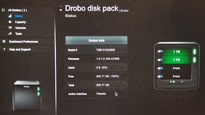 Data Robotics Drobo Gen 2 (DRO4D-D) 4 bay RAID (FW & USB 2) with 2 ea 1TB drives