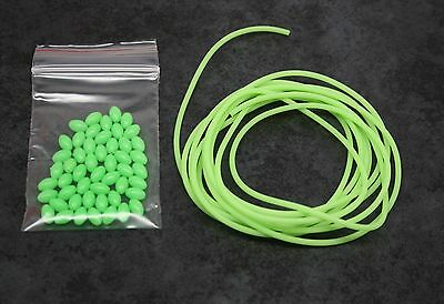 Fishing beads X50 Oval + 2M Lumo Tube, Luminous Glow Tubing, Bream Whiting etc