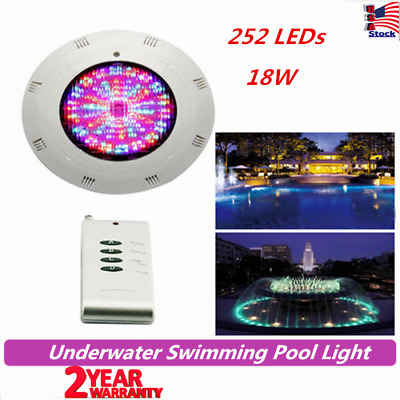 12V LED Swimming Pool Light Underwater SPA 18W RGB with Remote Control US