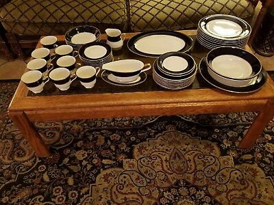 45 Piece Set - Royal Castle China #210 Cobalt Blue Gold Ivory GREAT CONDITION