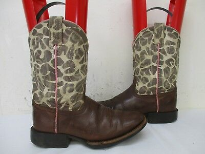 63200a76655 ARIAT QUICKDRAW BROWN Leather Square Toe Cowboy Boots Youth Size 13 Style  31989